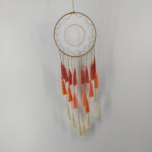 Dreamcatcher with pink and coral fringe